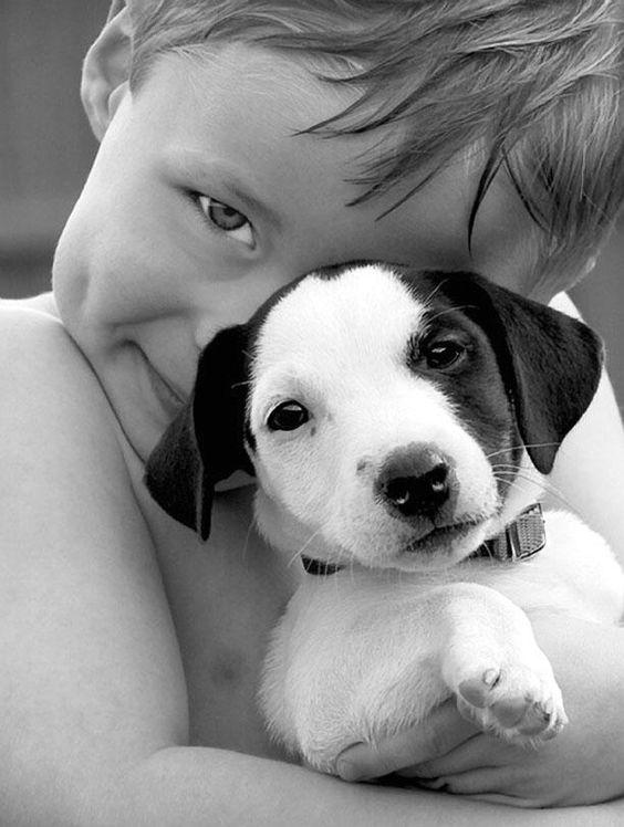 little boy with puppy