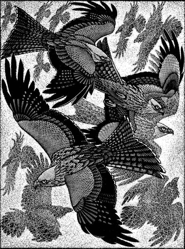red kites and ravens wood cut