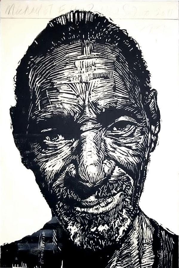 wood cut portrait