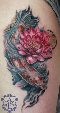 Lotus-Koi-Fish-Leg-Tattoo-Design-2